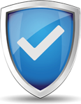 Safety shield with a tick mark